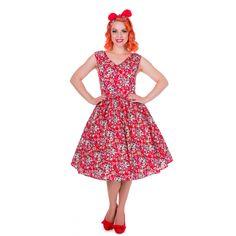 Petal Vintage Floral Swing Dress in Red