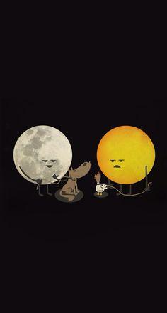 Sun & moon & their pets ;)