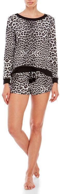 Betsey Johnson Two-Piece Fleece Top & Shorts Pajama Set