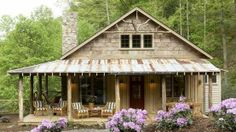 Perfect little cabin plan. Whisper Creek Plan - 17 House Plans with Porches - Southern Living. Such a charming little cabin! Porch House Plans, Best House Plans, Small House Plans, Rustic House Plans, Small Log Cabin Plans, Retirement House Plans, Texas House Plans, Small Rustic House, Log Cabin House Plans