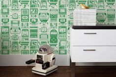 Gameland Wallpaper in Lizard design by Aimee Wilder