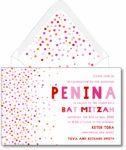 Pink and Orange Confeti - Bat Mitzvah Invitation