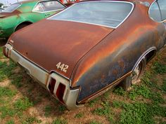 Olds 442. What a shame! And the rear bumper does not look beyond saving. Incredible cars. I'd load this home for a project car..