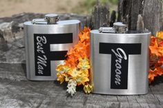 Set of 7  Personalized 6oz Flasks  Stainless by PointofExpression, $84.00 #grooms #groom #groomsmen #bestman #wedding