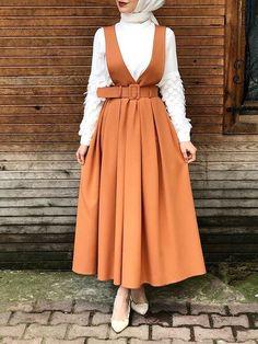 Muslim Fashion 840484349196646530 - Orange Buckles Shoulder-Strap Muslim Girls Fashion Casual Maxi Dress Source by Modern Hijab Fashion, Hijab Fashion Inspiration, Muslim Fashion, Mode Inspiration, Modest Fashion, Look Fashion, Girl Fashion, Fashion Dresses, Hijab Fashion Summer