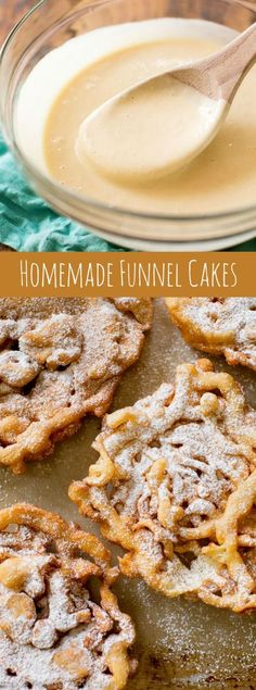 Here's exactly how to make homemade funnel cakes! You only need a few basic ingr… Here's exactly how to make homemade funnel cakes! You only need a few basic ingredients to get started. Recipe on sallysbakingaddic… Dessert Dips, Dessert Parfait, 13 Desserts, Delicious Desserts, Yummy Food, Desserts To Make, Sweet Recipes, Cake Recipes, Homemade Funnel Cake