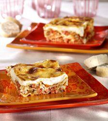 Lasagne met ham, groentjes en geitenkaas