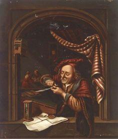 De schoolmeester. Jaar: ? Particulier bezit. Naar Gerard Dou: Oude man die zijn pen snijdt, ook genoemd: de oude schoolmeester. 1671