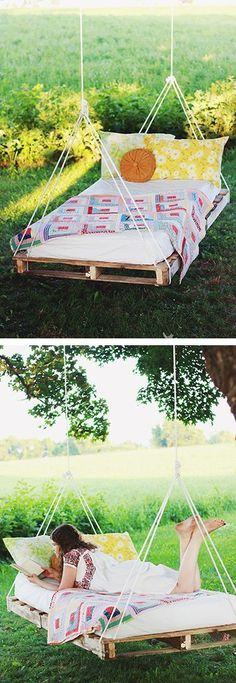 Just in time for spring! Love love love this swinging bed made from recycled wood pallets!