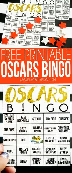 This Oscar bingo game is perfect for your next Oscar party! Mark off spaces when a movie or celebrity is named and try to be the first one to get an Oscar bingo first!