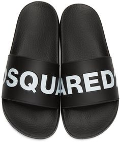 dd8954502c0517 Dsquared2 Mens Black Logo Slide Sandals Designer Sandals