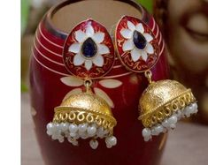 High Quality Collection of Handmade & Designer Jewelry by Avismaya 1 Gram Gold Jewellery, Temple Jewellery, Gold Jewelry, Designer Jewelry, Jewelry Design, Golden Color, Ethnic Jewelry, Ruby Red, Drop Earrings