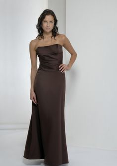 High quality 2015 Strapless Satin Sleeveless Floor Length Brown Ruched Mother of…