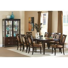 Steve Silver Furniture Montblanc 9 Piece Dining Table Set in Multi-Step Merlot