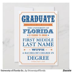 Shop University of Florida Graduation Announcement created by UniversityofFlorida. Colleges In Florida, University Of Florida, State University, Graduation Announcement Cards, Graduation Cards, Postcard Invitation, Art Courses, And So The Adventure Begins, Card Sizes