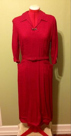 1950s/60s House of Shroyers Red Dress, S-M