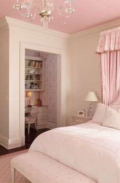 Wright Building Company - girl's rooms - ivory walls, ivory and pink bedroom, ivory and pink girls bedroom, white bedding with pink embroide.I want this room so badly Teen Girl Bedrooms, Little Girl Rooms, Pink Bedrooms, Teen Bedroom, Girls Pink Bedroom Ideas, Bedroom Small, Cool Rooms For Girls, Young Adult Bedroom, Female Bedroom