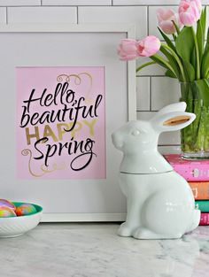 Well, Hello Spring a free printable download with pink, black and gold lettering. It's perfect for any decor or for any room. Well, Hello Spring printable