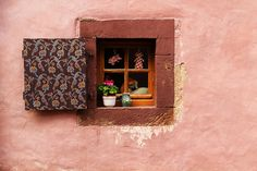 Fine Art Color Window Photography of a Mauve Wall and Window in Alsace France Mauve Walls, Window Photography, Chair Planter, French Windows, Artist Signatures, Alsace, Fine Art Paper, Digital Prints, Planters