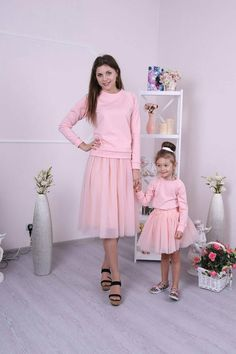 a4c17d7b2dd Mommy and Me peach pink matching set of sweatshirts and tulle skirts