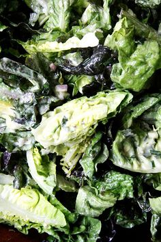 Little gem lettuces (and others) with Chez Panisse Vegetables green goddess dressing — flavored heavily with tarragon, so so good.