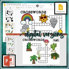4 PICTURE CROSSWORDS (NATURE THEMED) (Vocabulary Words) Printable & DIGITAL