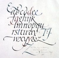 Hermann Zapf Calligraphic broadside Italic minuscule alphabet, with majuscule ampersand and initials T, J and Z, written as a keepsake for Theo Jung 1968 Ink and watercolor on Japanese paper San Francisco Public Library 15.25 x 9.75 inches