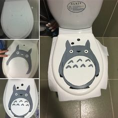 Toilet art drawing and painting My Neighbor Totoro and Dustbunnies :)