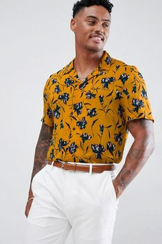e98c5ac2 River Island Regular Fit Shirt With Floral Print In Mustard #ad #men  #fashion