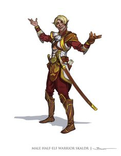 Dungeons and Dragons 5th Edition Concept Art Male Half-Elf Warrior Skaldr