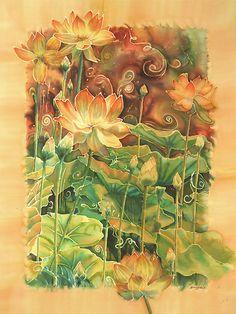 """Lotus Field"" - silk painting by Deborah Younglao"