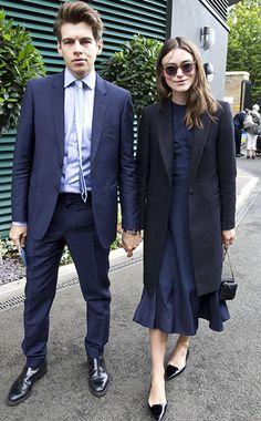 navy midi dress - black trench coat - black pointed flats - black sunnies - black handbag | keira knightley