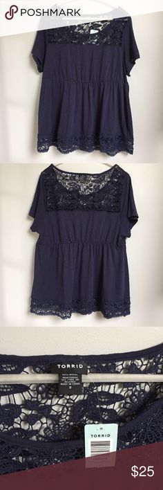 04d4341a5d437c Torrid | Crochet top NWT. Soft jersey top with crocheted yoke and hemline,  and