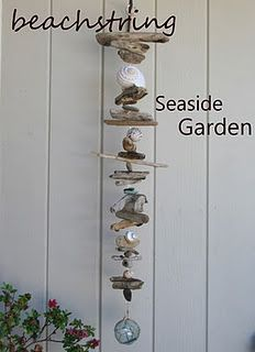 Driftwood crafts - beachstring DRIFTWOOD ART love the style of this one Seashell Art, Seashell Crafts, Beach Crafts, Summer Crafts, Diy And Crafts, Seashell Wind Chimes, Seashell Garland, Crafts With Seashells, Wind Chimes Craft