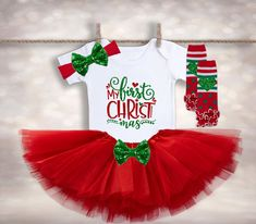 Santa's Been Waiting to See Me - Girls First Christmas Outfit - Baby Santa Outfit - Christmas Tutu Outfit - Holiday Tutu Set Christmas Tutu, Girls Christmas Outfits, Babys 1st Christmas, Christmas Birthday, Holiday Outfits, Newborn Christmas, Christmas Makeup, Christmas Holiday, Christmas Crafts