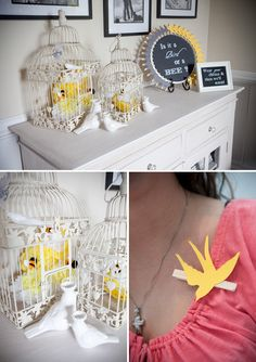 Birds & Bees themed gender reveal party (clothes pins with your guess on them)