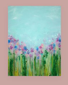 This is an original one of a kind painting. If interested in something similar in a different size, please contact me.  Gorgeous pastel shades of aqua and baby blues drift down to layers of multiple shades of greens. The flowers are made up of several shades of lavender, pinks, and blues. There is a chalk overlay in areas to create added depth and this painting has wonderful texture.  TITLE: April Showers 3 DIMENSIONS: 30x40x1.5 MEDIUM: Acrylics on Gallery Canvas  Will arrive signed, sealed…