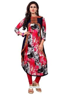 Masterly Multi Colour Embroidered Work Party Wear Kurti Model: YOKU429
