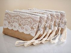 Bridesmaid set of 6 burlap clutches with wristlet strap and large floral lace Bridesmaids gift Unique gift Rustic country wedding. if I go with the rustic wedding idea, this would be great! Bridesmaid Gifts Unique, Lace Bridesmaids, Bridesmaids And Groomsmen, Bridesmaid Clutches, Bridesmaid Dress, Burlap Lace, Hessian, Lace Weddings, Rustic Wedding