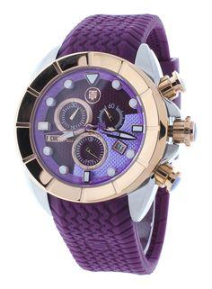 Technosport TS-640-8 Women's Magenta & Rose Gold Swiss Chronograph Watch Silicone Strap