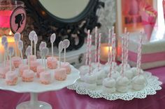 Easy Dessert Bar: Marshmallows on sticks, Mini Doughnuts on Straws, Popcorn in Cones. Girls #BarbieBirthday Party