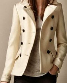 relaxed, casual ivory car coat... needs accessories to make it pop!