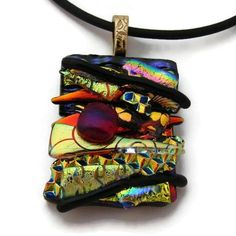 $24 Picasso Style Dichroic Glass Pendant includes necklace by DichroicCreations on Handmade Australia