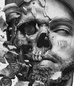 ZHARA – Album artwork Artwork is done for famous russian musician. Skull Tattoos, Body Art Tattoos, Sleeve Tattoos, Badass Drawings, Dark Art Drawings, Art Sculpture, Sculptures, Statue Tattoo, Chicano Art
