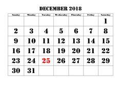 13 best december calendar 2018 printable template images in 2018