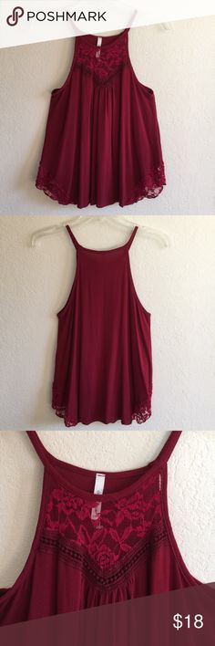 Burgundy Dark Red Lace Crochet Halter Tank Top NWOT. Never worn. Lace with a little crochet detailing on the high neckline front. Lace detailing on the bottom sides as well. No trades. No holds. Relevant colors: maroon merlot oxblood Tops Tank Tops