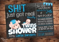 Sht just got Real Baby Shower Invitation  Funny by ReigningParties, $20.00