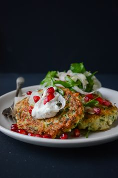 Cauliflower Fritters with Tahini Yogurt Sauce by scalingback #Cauliflower_Fritters #Healthy #Light