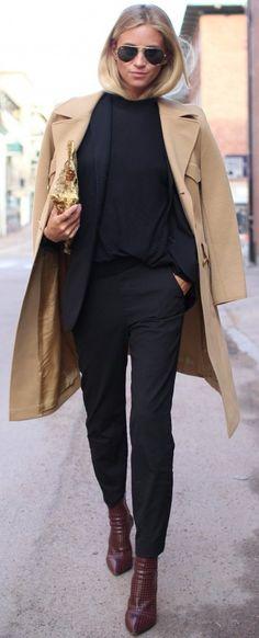 #fall #street #trends | Camel Coat + All Black