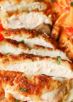 This Parmesan Crusted Chicken is a simple and delicious recipe to add to your chicken repertoire! Thin chicken breasts are are coated in Parmesan, egg, and bread crumbs, and pan fried until crispy! Easy Chicken Recipes, Meat Recipes, Dinner Recipes, Cooking Recipes, Recipies, Recipe Chicken, Diabetic Recipes, Chicken Eating, Parmesan Crusted Chicken
